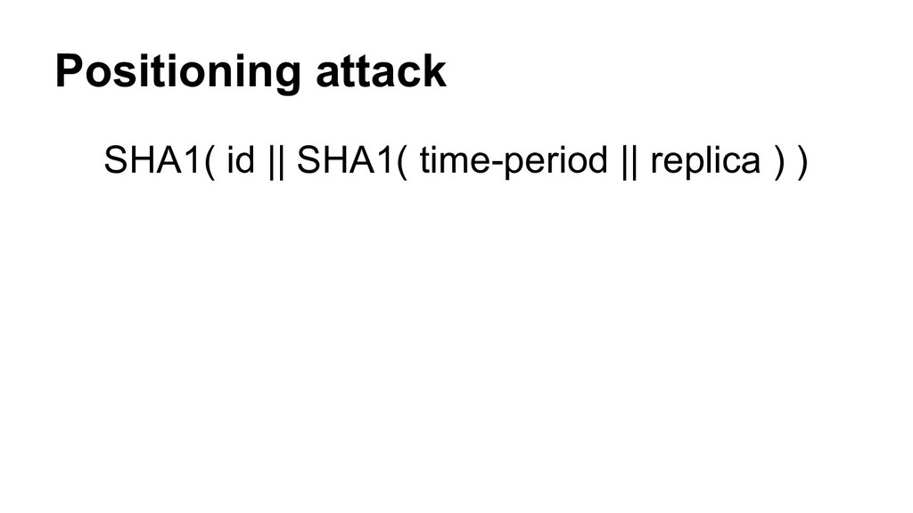 Positioning attack SHA1( id || SHA1( time-perio...