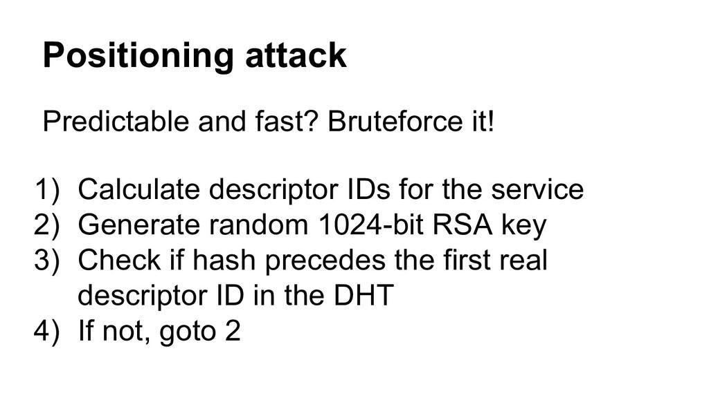 Positioning attack 1) Calculate descriptor IDs ...