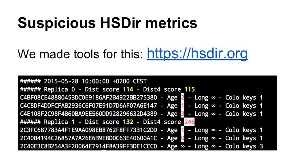 Suspicious HSDir metrics We made tools for this...