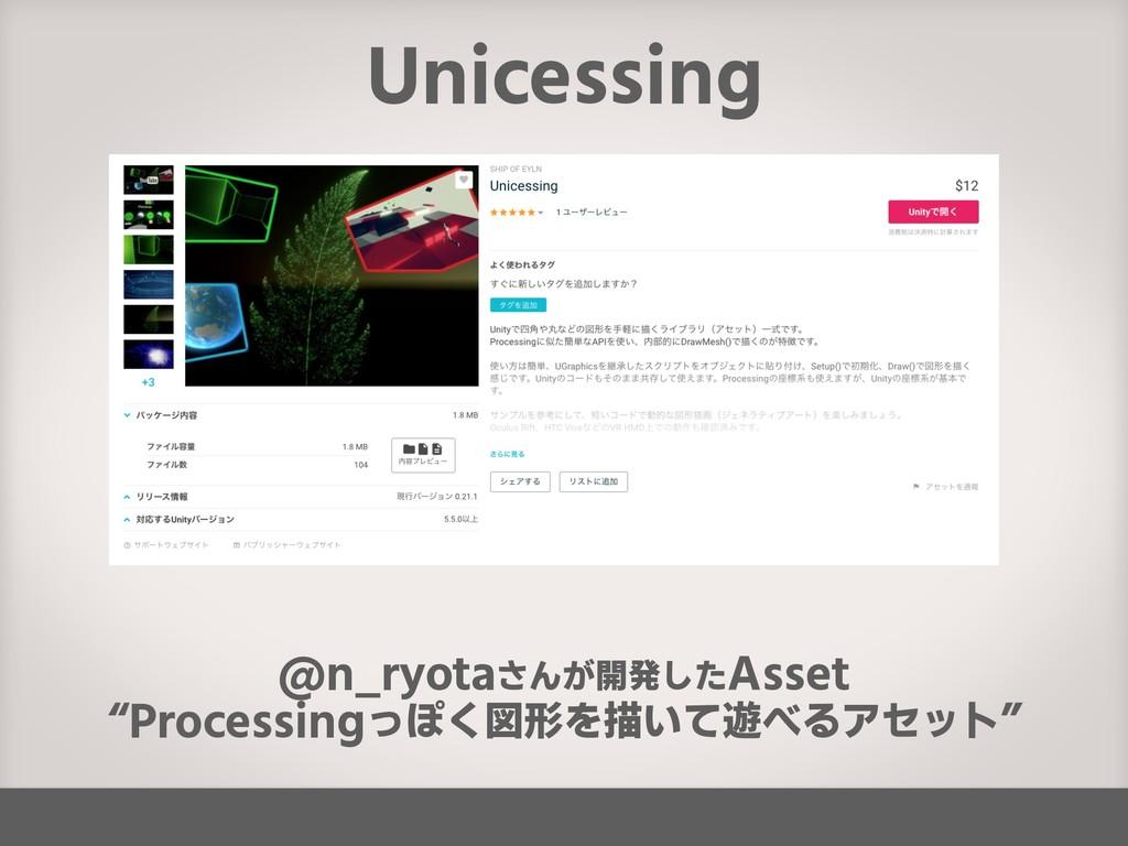 "Unicessing @n_ryotaさんが開発したAsset ""Processingっぽく図..."