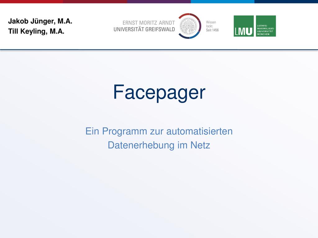 Jakob Jünger, M.A. Till Keyling, M.A. Ein Progr...