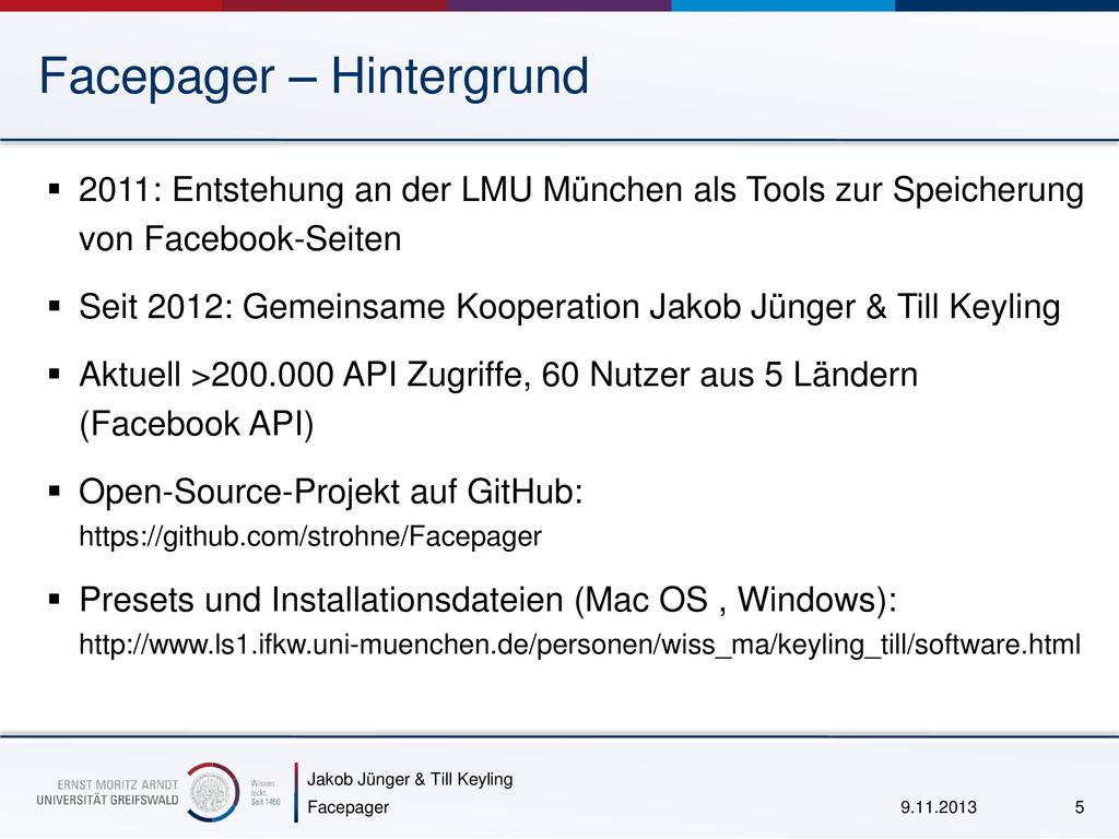 Jakob Jünger & Till Keyling Facepager – Hinterg...