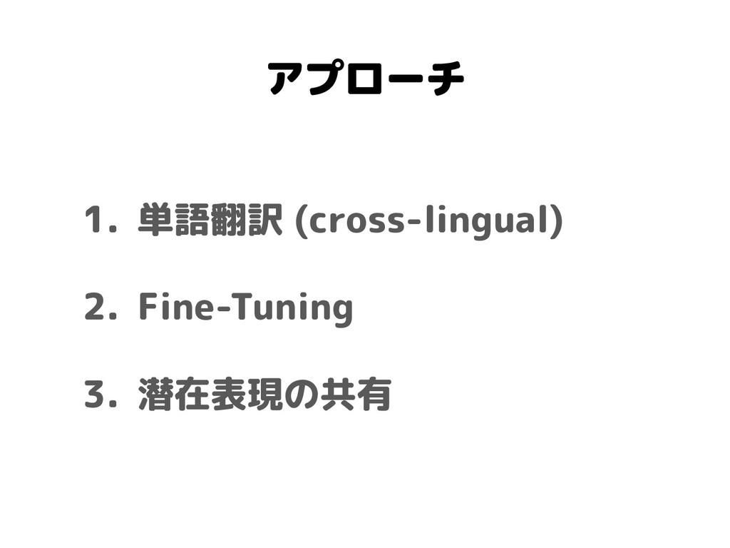 アプローチ 1. 単語翻訳 (cross-lingual) 2. Fine-Tuning 3....
