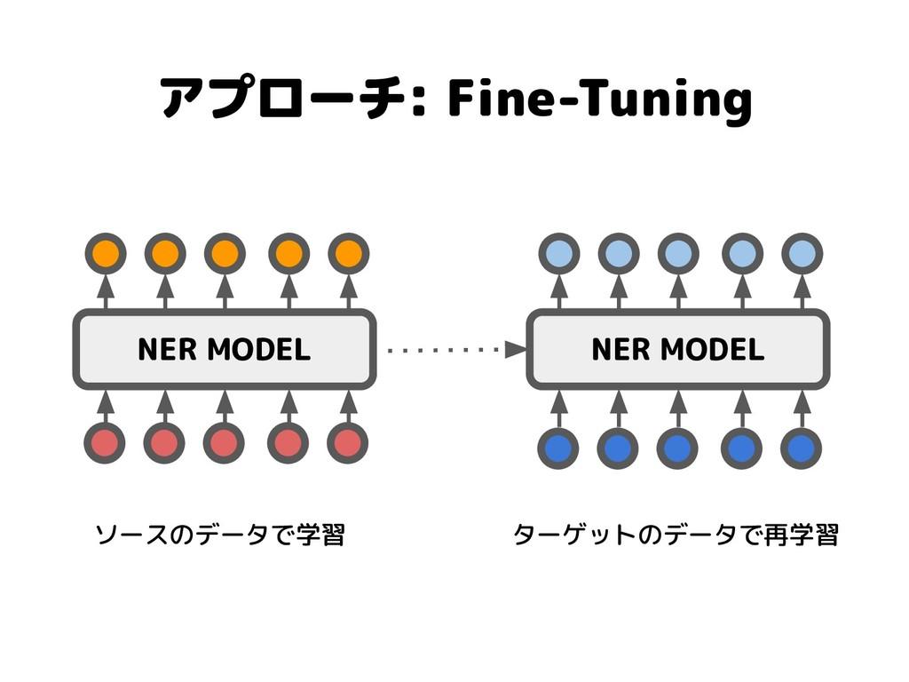 アプローチ: Fine-Tuning NER MODEL NER MODEL ソースのデータで...