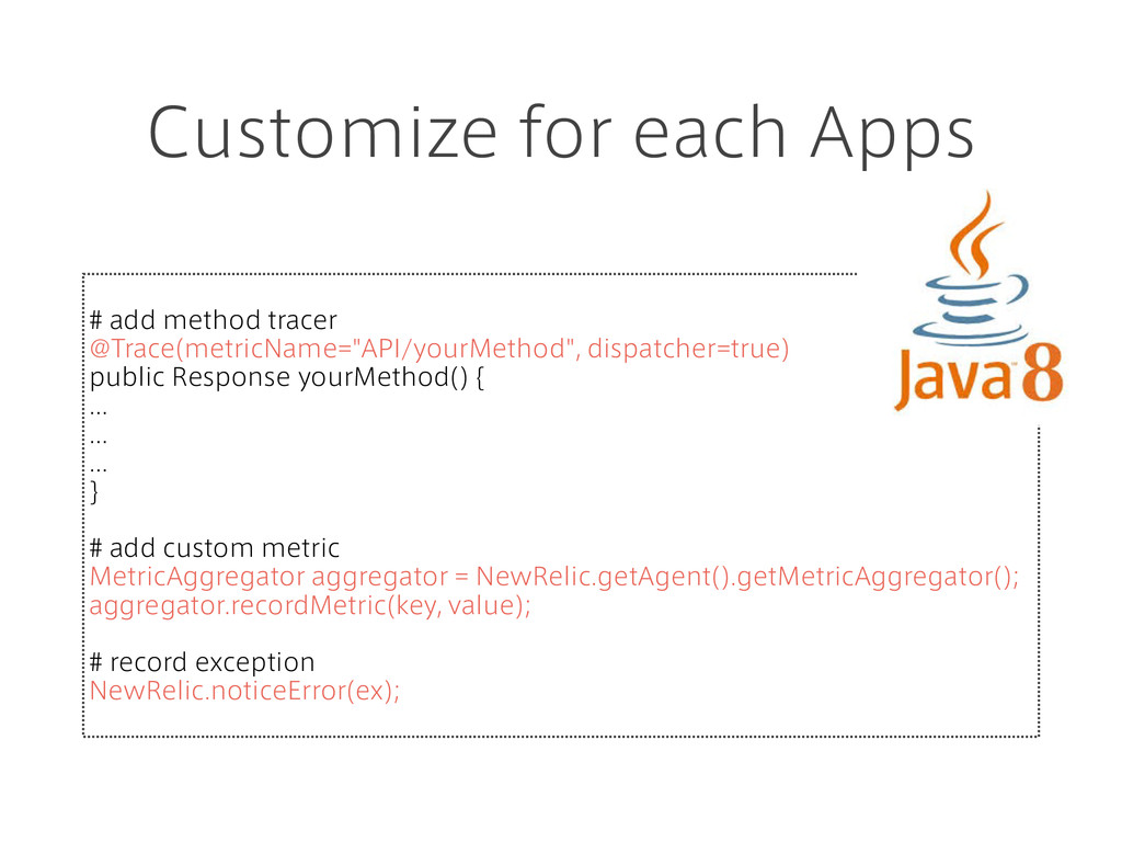 Customize for each Apps # add method tracer @Tr...