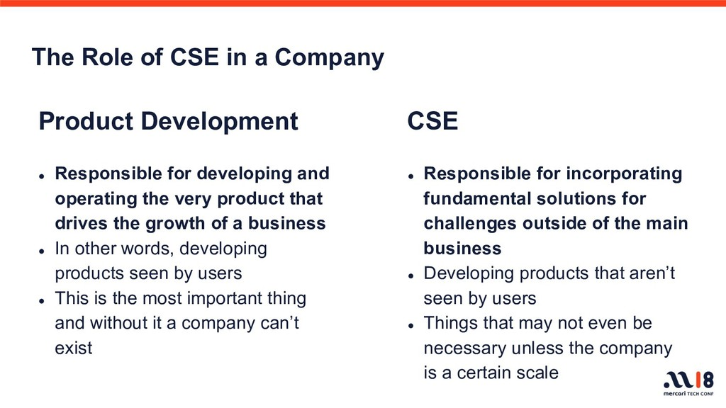 The Role of CSE in a Company ● Responsible for ...