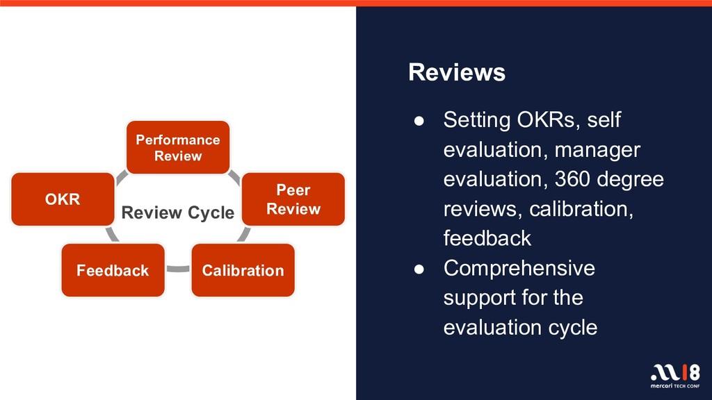 Reviews ● Setting OKRs, self evaluation, manage...