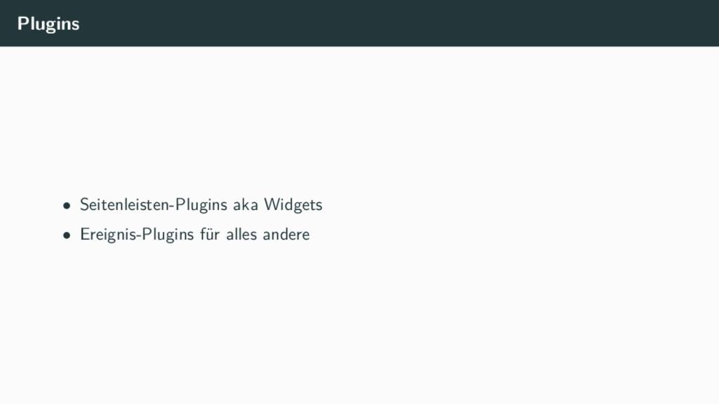 Plugins • Seitenleisten-Plugins aka Widgets • E...