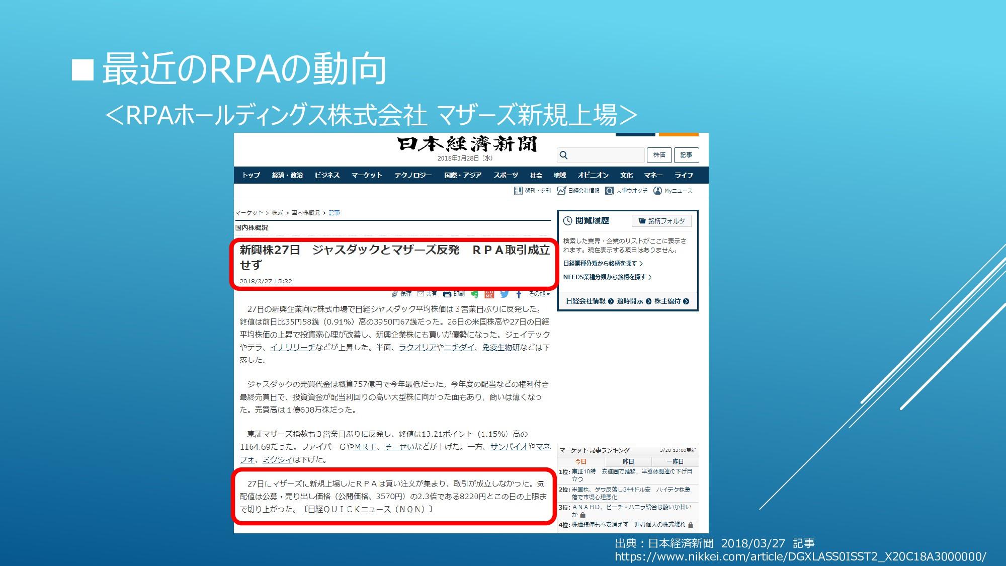 ■最近のRPAの動向 <RPAホールディングス株式会社 マザーズ新規上場> 出典:日本経済新聞...