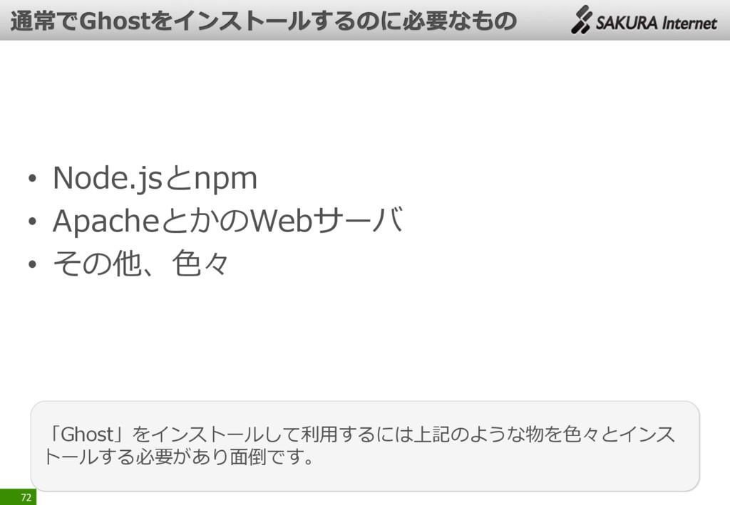 • Node.jsとnpm • ApacheとかのWebサーバ • その他、色々 72 「Gh...