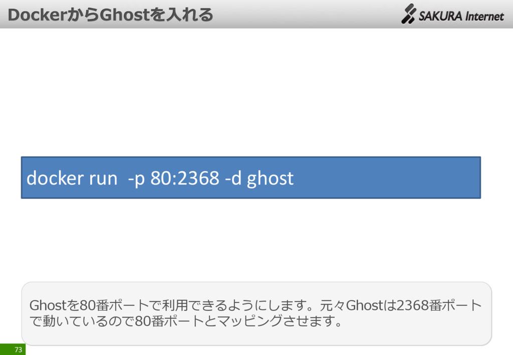 73 Ghostを80番ポートで利用できるようにします。元々Ghostは2368番ポート で動...