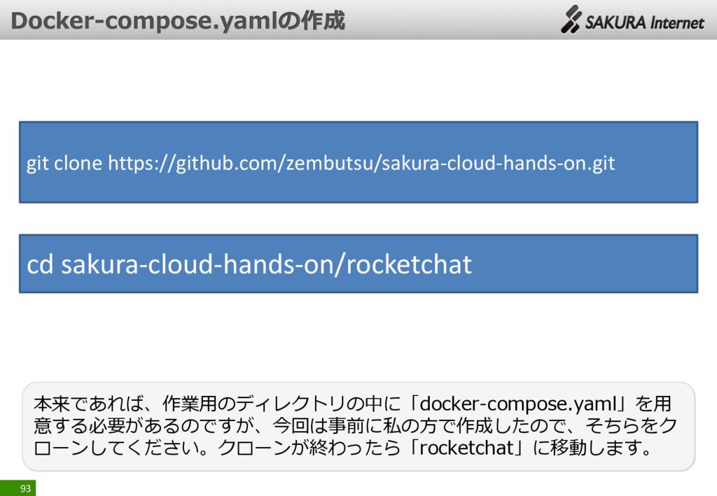 93 本来であれば、作業用のディレクトリの中に「docker-compose.yaml」を用 ...