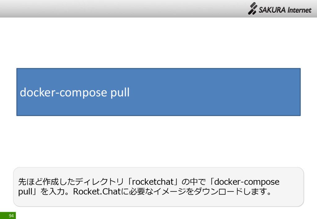 94 先ほど作成したディレクトリ「rocketchat」の中で「docker-compose ...