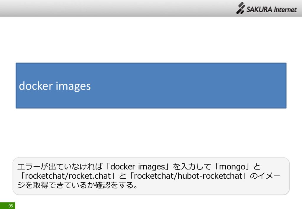 95 エラーが出ていなければ「docker images」を入力して「mongo」と 「roc...