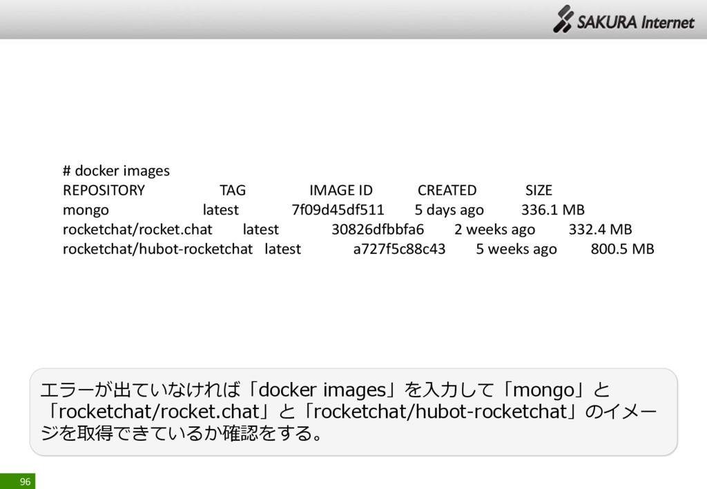 96 エラーが出ていなければ「docker images」を入力して「mongo」と 「roc...