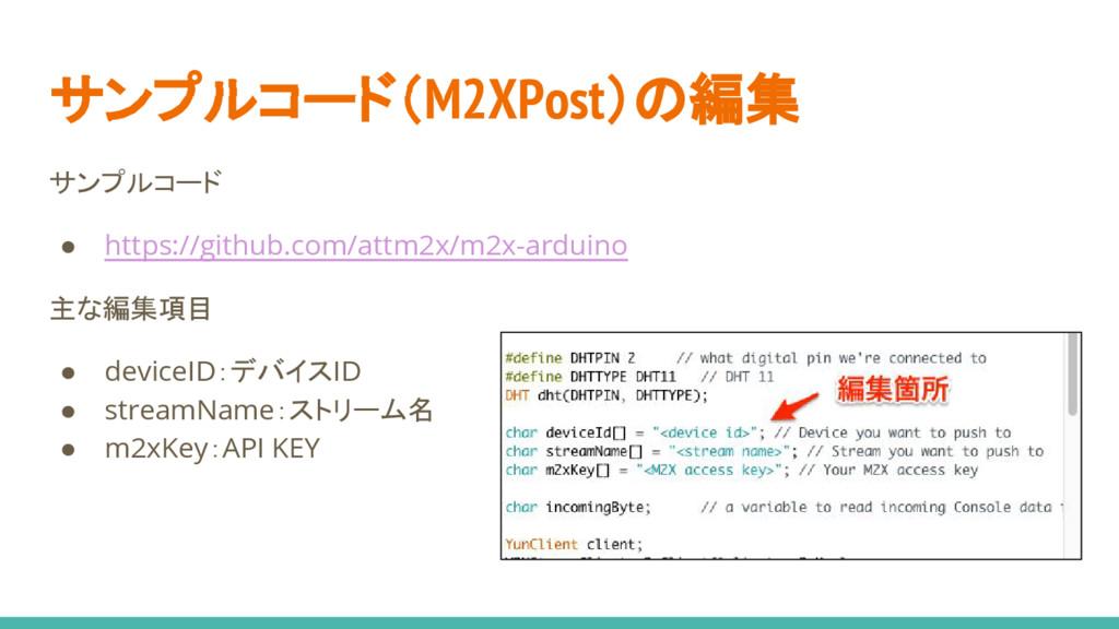 サンプルコード(M2XPost)の編集 サンプルコード ● https://github.co...