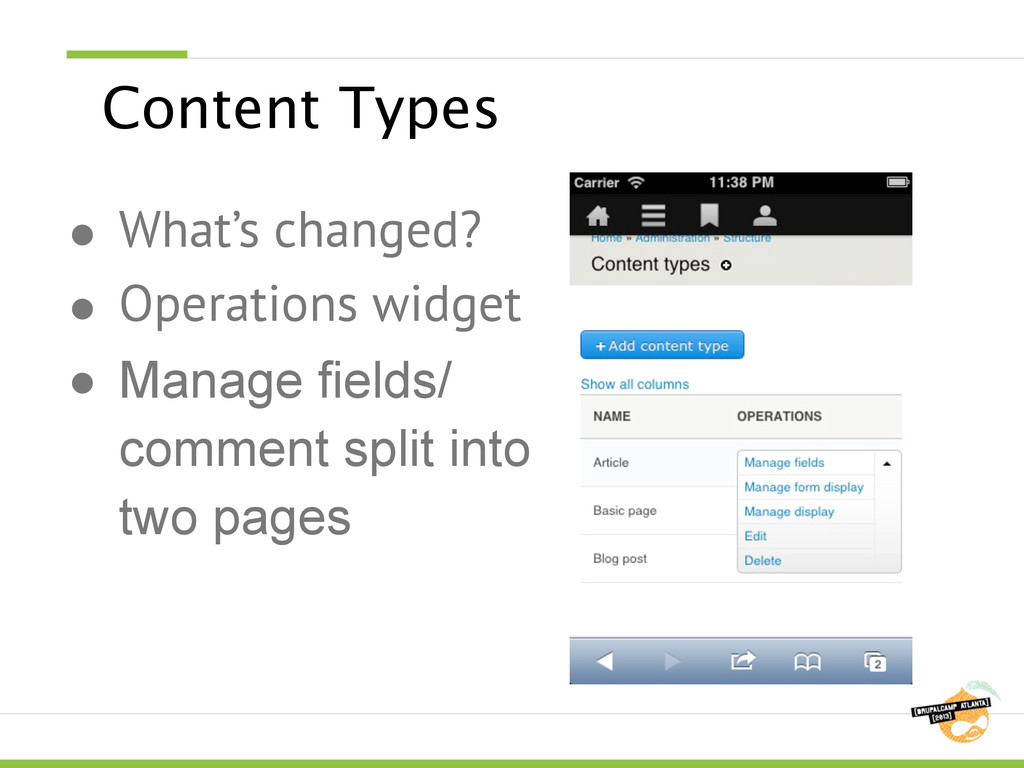 Content Types ● What's changed? ● Operations wi...