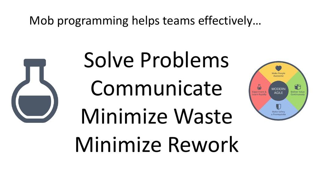Solve Problems Communicate Minimize Waste Minim...