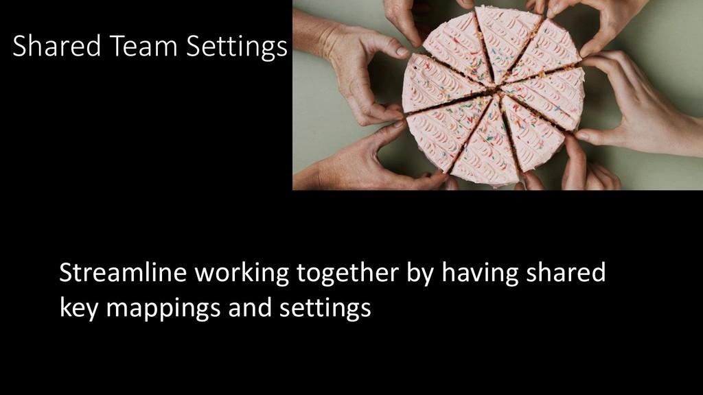 Shared Team Settings Streamline working togethe...