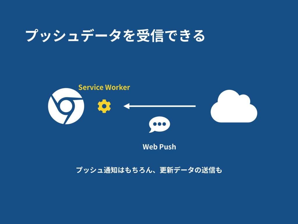 Service Worker プッシュデータを受信できる プッシュ通知はもちろん、更新データの...