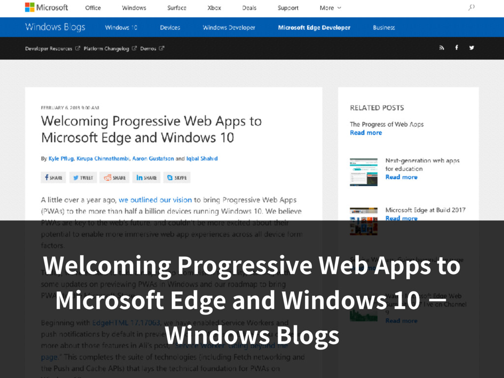 Welcoming Progressive Web Apps to Microsoft Edg...
