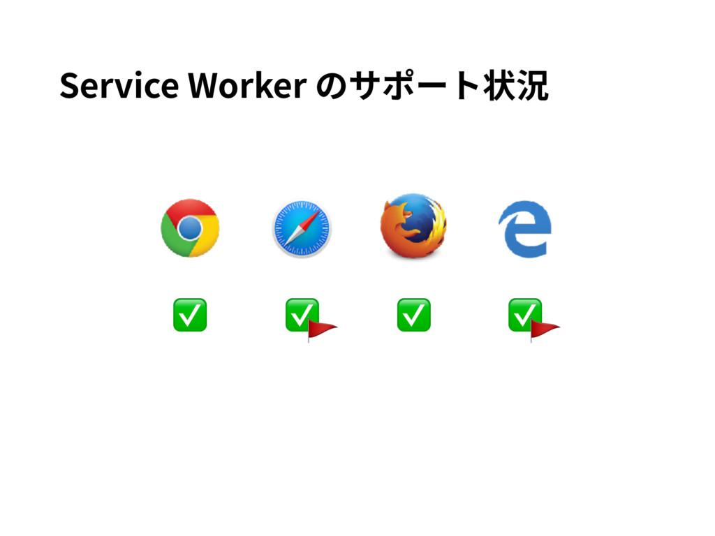 ✅ ✅ ✅ ✅ Service Worker のサポート状況