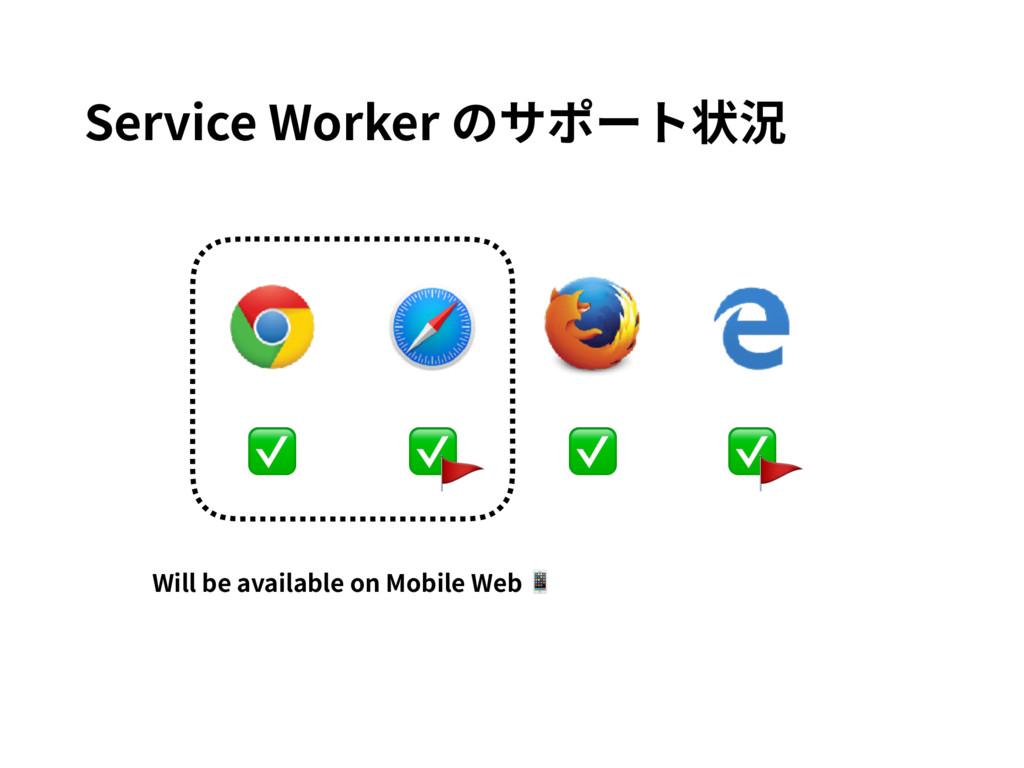 ✅ ✅ ✅ ✅ Service Worker のサポート状況 Will be availabl...