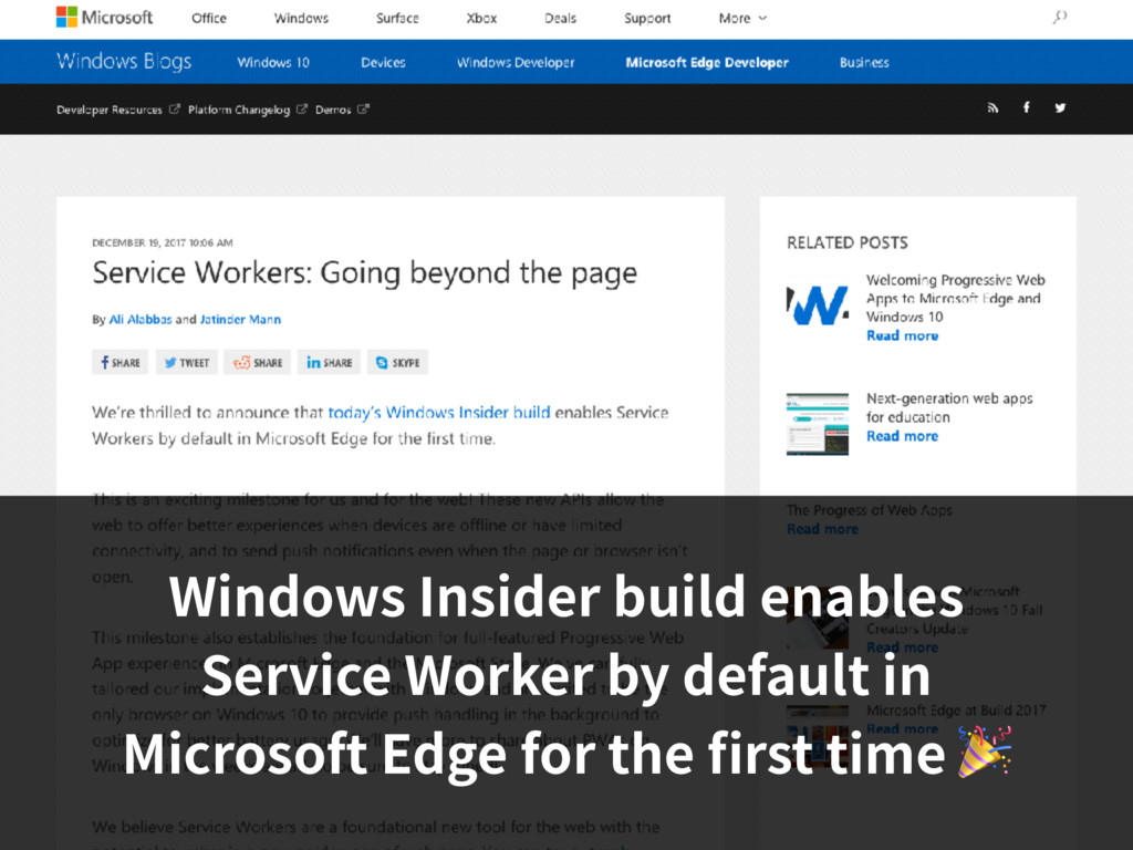 Windows Insider build enables Service Worker by...