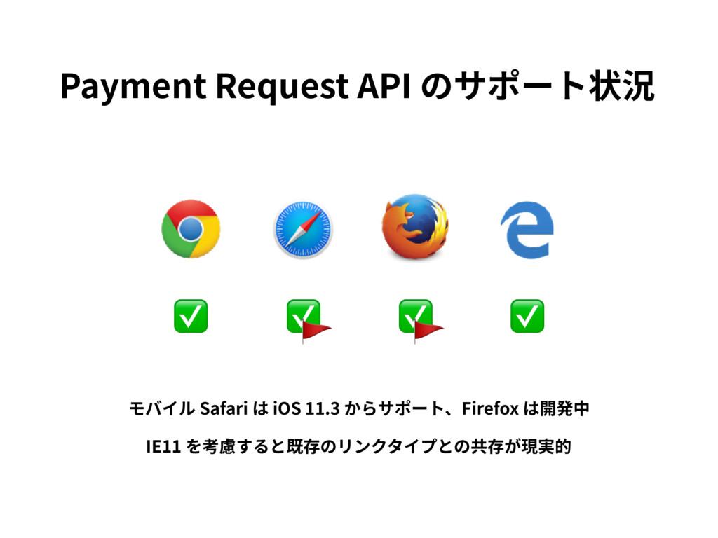 ✅ ✅ ✅ ✅ Payment Request API のサポート状況  モバイル Safar...