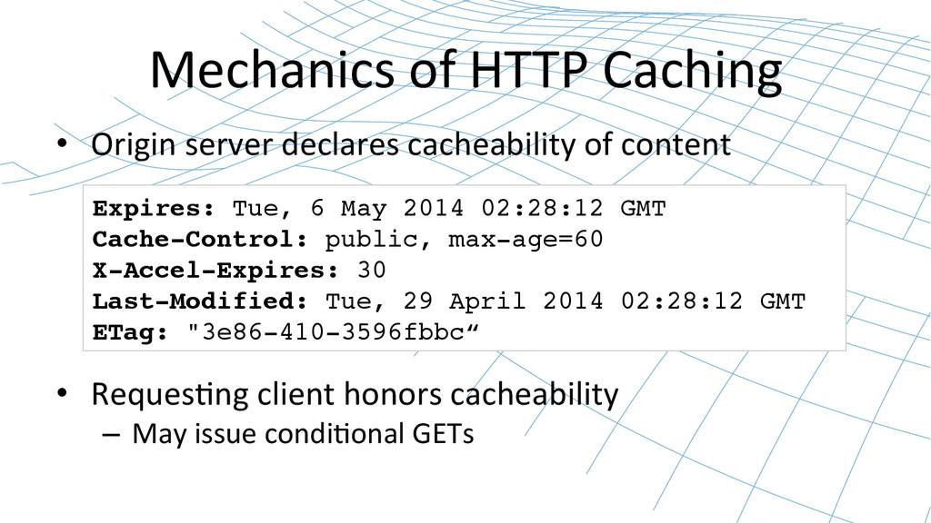 Mechanics of HTTP Caching  • Origi...