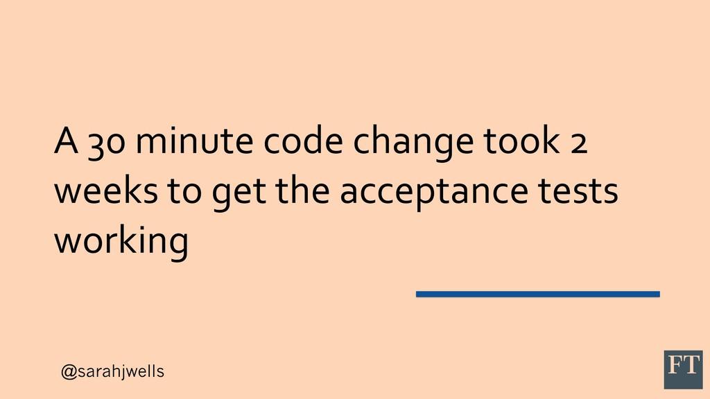 @sarahjwells A 30 minute code change took 2 wee...