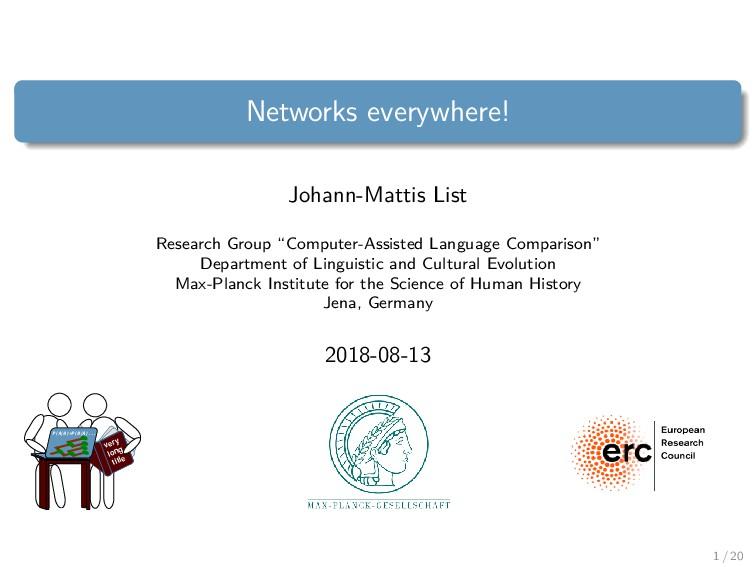 Networks everywhere! Johann-Mattis List Researc...
