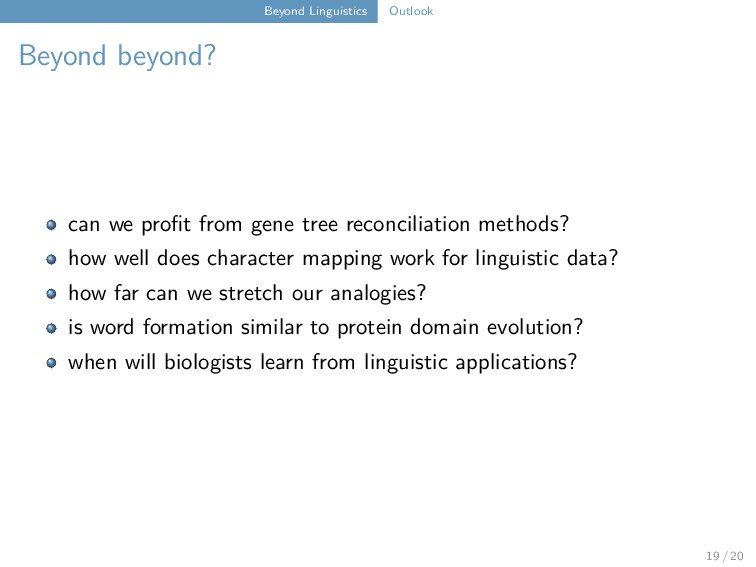 Beyond Linguistics Outlook Beyond beyond? can w...
