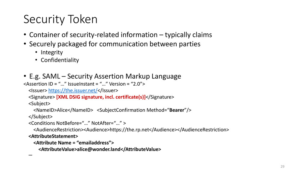 Security Token • Container of security-related ...