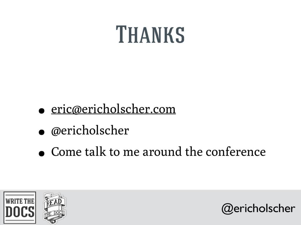 @ericholscher Thanks • eric@ericholscher.com • ...