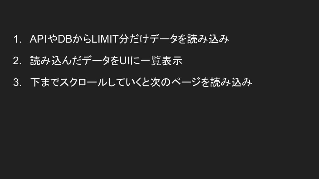 1. APIやDBからLIMIT分だけデータを読み込み 2. 読み込んだデータをUIに一覧表示...