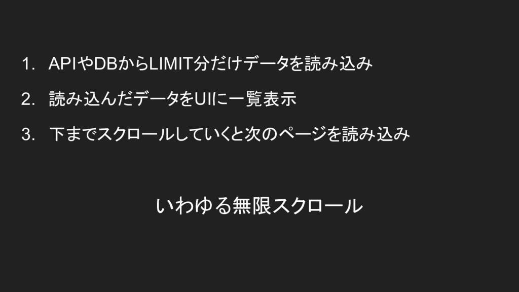 いわゆる無限スクロール 1. APIやDBからLIMIT分だけデータを読み込み 2. 読み込ん...