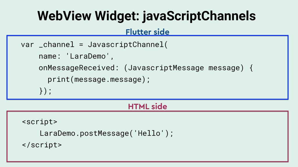 WebView Widget: javaScriptChannels var _channel...