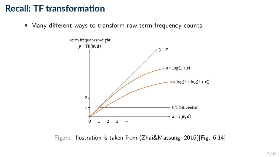 Recall: TF transforma on • Many different ways ...