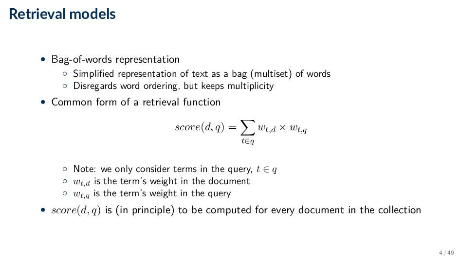 Retrieval models • Bag-of-words representation ...