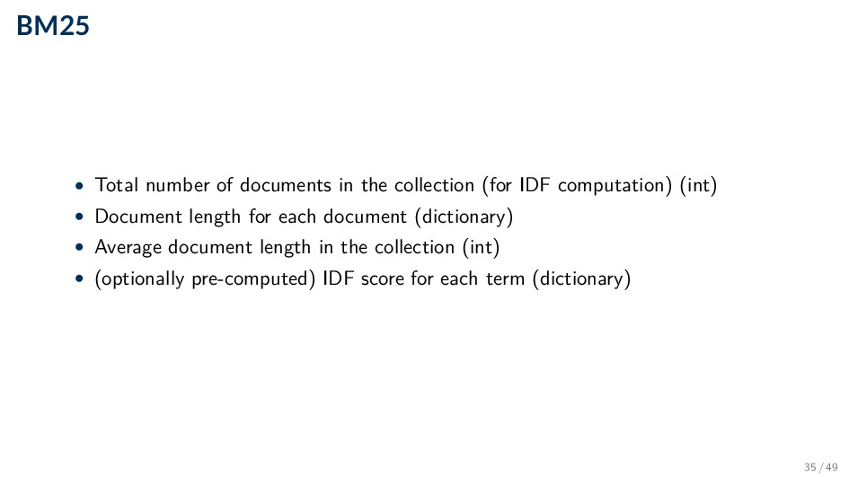 BM25 • Total number of documents in the collect...