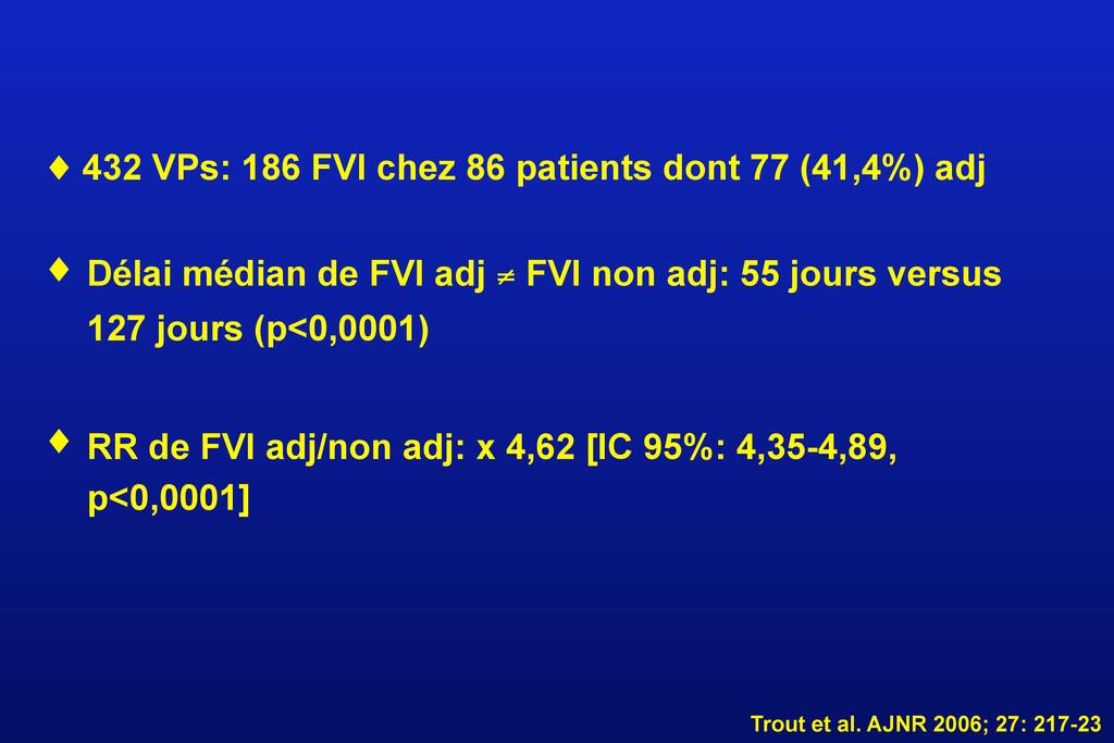 ♦ 432 VPs: 186 FVI chez 86 patients dont 77 (41...