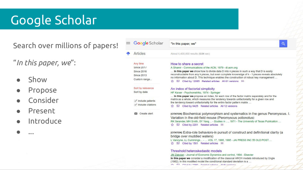 """Search over millions of papers! """"In this paper,..."""