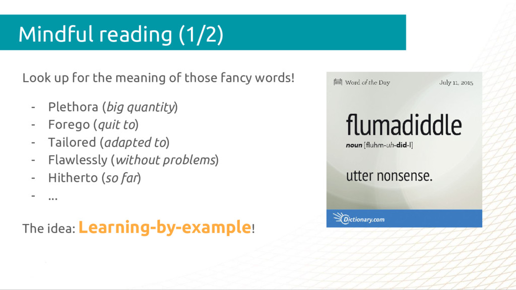 Mindful reading (1/2) Look up for the meaning o...