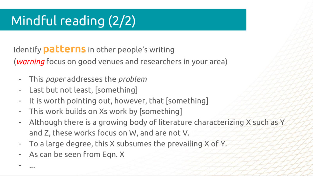 Identify patterns in other people's writing (wa...