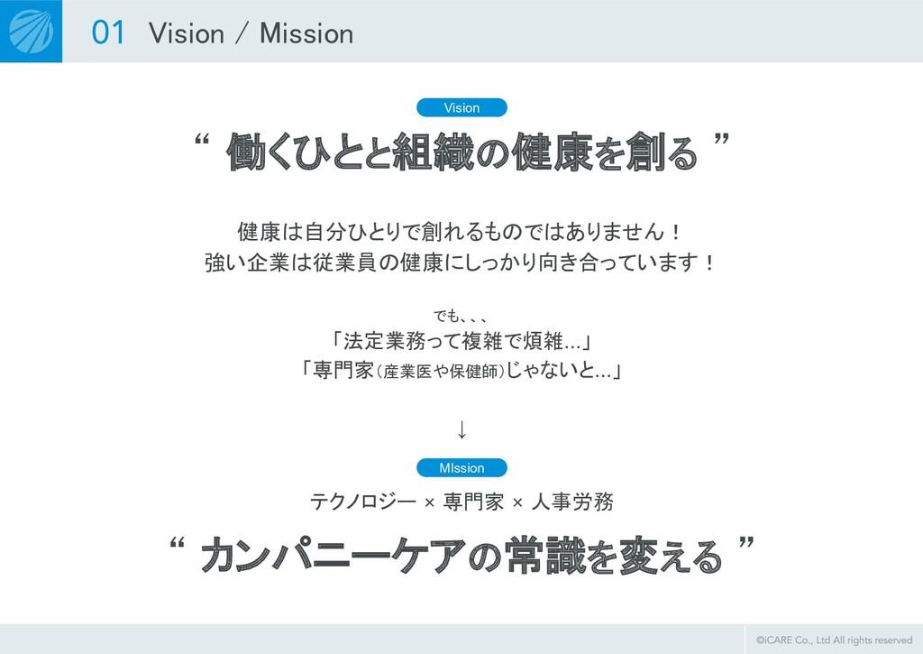 """"""" 働くひとと組織の健康を創る """" Vision / Mission Vision 健康は..."""