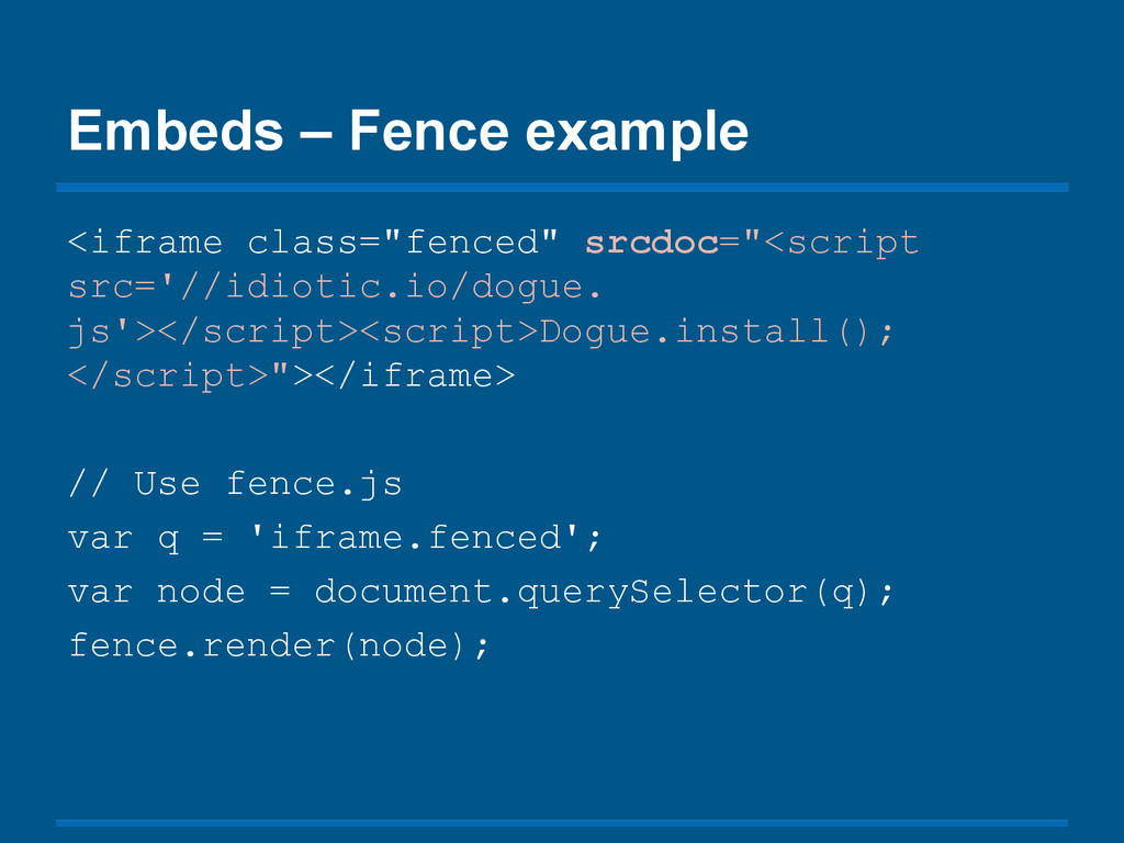 "Embeds – Fence example <iframe class=""fenced"" s..."