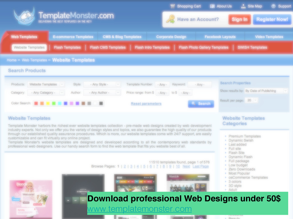 Download professional Web Designs under 50$ www...