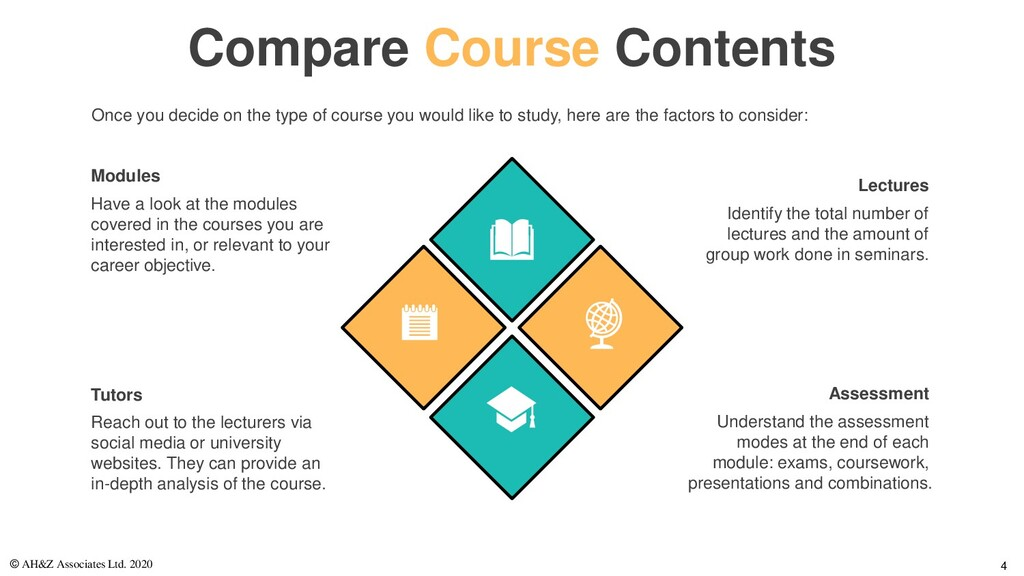 Compare Course Contents Have a look at the modu...