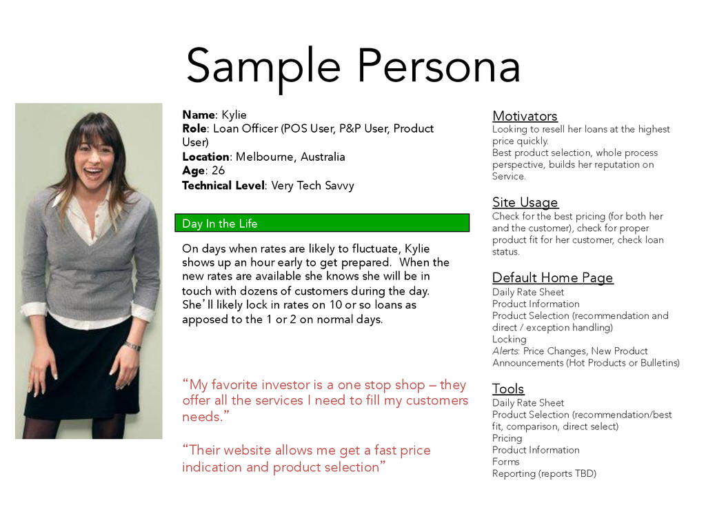 Sample Persona Name: Kylie Role: Loan Officer (...